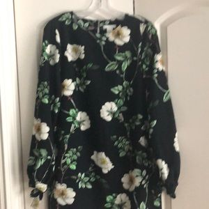 H&M black floral mini dress size 4